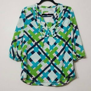 Lilly Pulitzer Ruffle Front 3/4 Sleeve Blouse sz 6